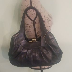 COACH BLACK PEBBLE LEATHER LARGE HOBO HANDBAG